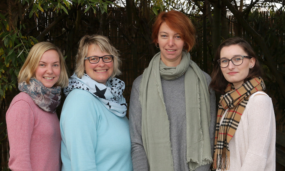 Team der Luftklasse: Julia Gees (Klassenleitung), Karin Wulff (I-Kraft), Birgit Ullrich (Lernbegleitung), Elena Devereux (Praktikantin)