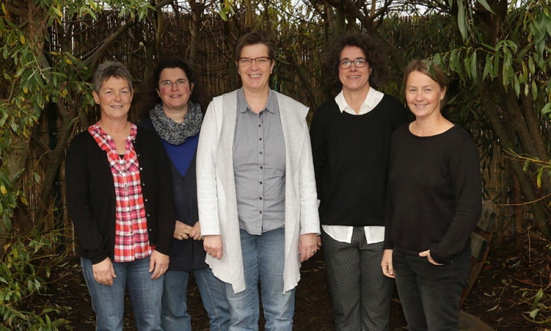 Team der Wasserklasse: Barbara Bargenda (I-Kraft), Bettina Schmid (Lernbegleitung), Annette Allhoff (I-Kraft), Ulrike März (Klassenleitung), Katherina Berndt (Sonderpädagogin)